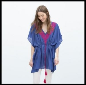 ZARA Embroidered tunic Cover Ups Blue Pink